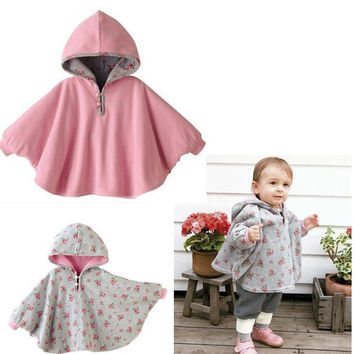 Fashion Combi Baby Coats boys Girl's Smocks Outwear Fleece cloak Jumpers mantle Children's clothing Poncho Cape