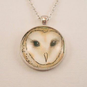 White Barn Owl Glass Photo Necklace  Owl Jewelry  by cellsdividing