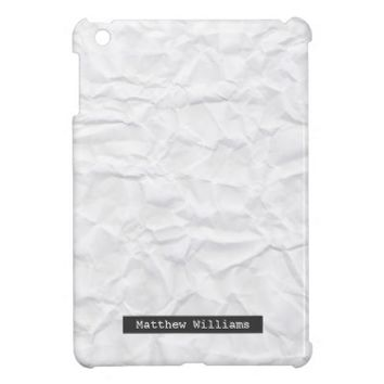 Crumpled white paper texture personalized name