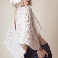 Mohair sweater, poncho vest, ivory knitted womens tops, off white lace, wedding lace knit, off shoulder cape, hand knit poncho loose fitting