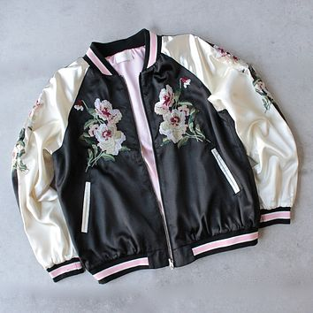 reversible floral embroidered bomber jacket