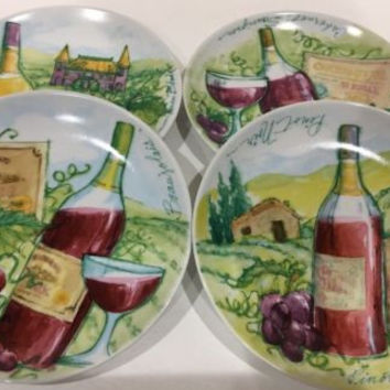 Boston Warehouse Wine Label Porcelain Snack Appetizer Plates Set of 4 w/ Box