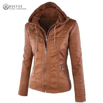 2017 New Arrival Cheap Hooded Leather Jacket Women Casual Biker Coat Long Sleeve Zipper Slim Warm Brown Jackets Plus Size OKA501