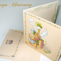 Baby Boy Girl Christening Invitation, Baby Boy Girl Baptism Invitation, Baby Boy Girl Shower Card, Stork Invitation