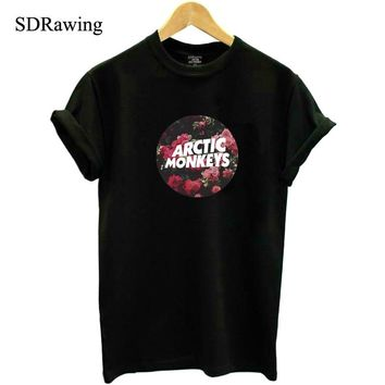 56e958bf5 Harajuku Arctic Monkeys Band Print Cotton Casual t shirts tees S