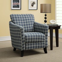 "Dark Blue "" Angled Kaleidoscope "" Fabric Accent Chair"