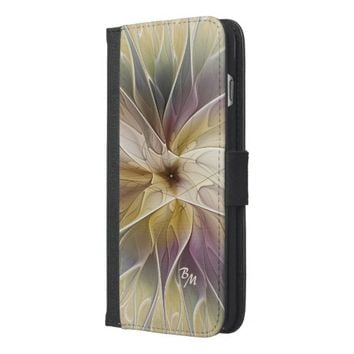 Floral Fantasy Pattern Abstract Fractal Monogram iPhone 6/6s Plus Wallet Case