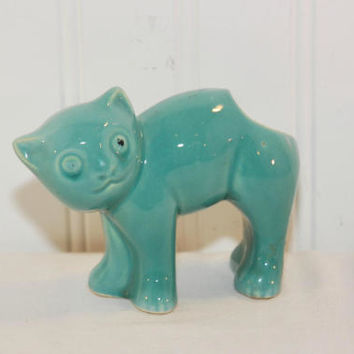 Vintage Ceramic Teal Green Cat Planter (c. 1950's) Mid Century Kitsch, Stretching Cat, Scaredy Cat, Succulent Planter, Pottery Cat