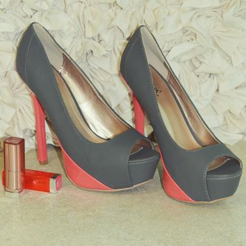 Doing It With Class Heels: Grey/Coral