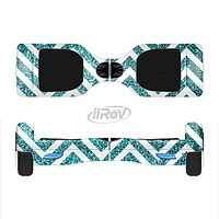 The Teal & White  Sharp Glitter Print Chevron Full-Body Skin Set for the Smart Drifting SuperCharged iiRov HoverBoard