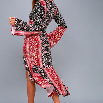 Burn in Love Black and Red Print Bell Sleeve Midi Dress