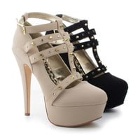 Lawless Almond Toe T-Strap Studded Ankle Buckle Platform Stiletto Heels