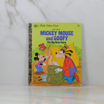 Vintage Walt Disney's Mickey Mouse And Goofy, The Big Bear Scare, 1978, Little Golden Books