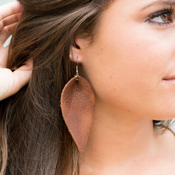 Brown Leather Teardrop Earrings