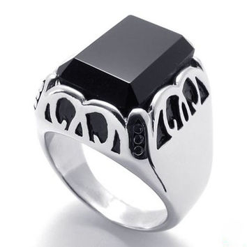 Ring Made of Titanium Steel 316L Jewelry Black Crystal for Women & Men's Fashion-Size 11