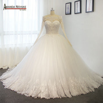 Luxury Full Pearls Wedding Dresses