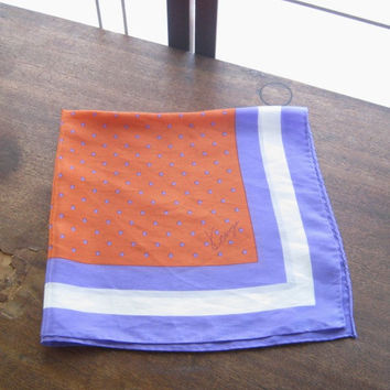 Orange with Purple Silk Vintage Kenzie Scarf - Medium Purple-Orange Head Scarf - '80s Designer Colorblock/Polka Dot Scarf