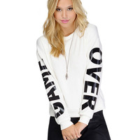 White Crew Neck Game Over Print Sweatshirt