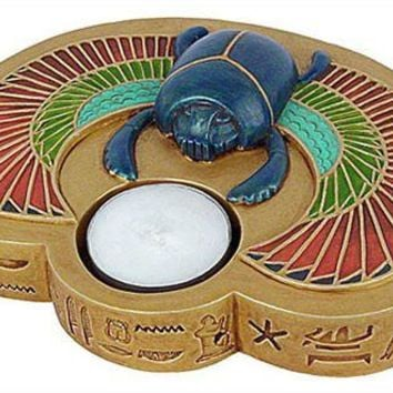 Egyptian Scarab Beetle with Isis Wings Tealight Candleholder 6W - E-357GP
