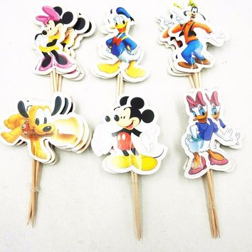 24pcs Mickey Minnie Mouse Cake Dessert Inserted Card Prod With Picture Cake Topper Decoration Kid Birthday Party Decoration