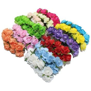 LMFONHS CCINEE 144PCS One lot  1cm Head Multicolor Artificial Paper Flowers Rose Used For Decorative Gift