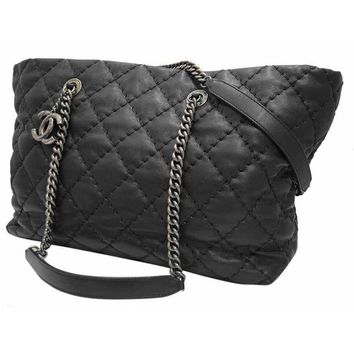 AUTHENTIC Chanel Black Quilted Calfskin Leather 2012 Charm Shopper Tote Bag