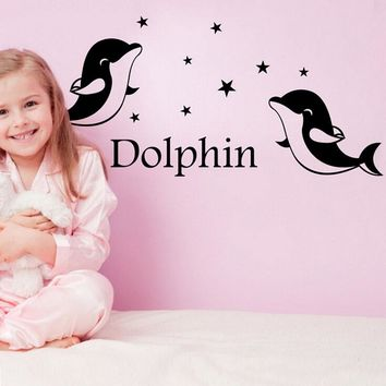 Dolphin Animal Cartoon Vinyl Wall Decals for kids rooms