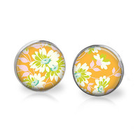 Bright Colorful Glass Studs Orange Pink and Green Floral Pattern 70s Vintage Hippie Print Avocado Green Bright Orange Flower Earrings Boho