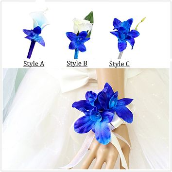 Pick style-Boutonniere or Corsage - Real Touch Galaxy Orchid Rose calla lily prom wedding homecoming events father daughter dance