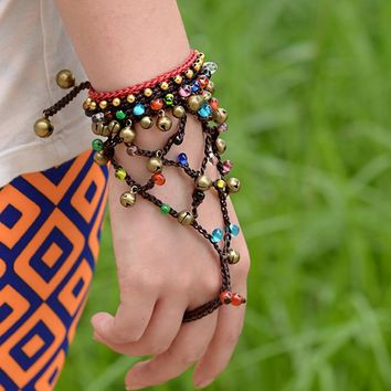 charm bangle bohemian wrap bracelet for women color natural stone copper bell and beads chain ethnic boho jewelry vinatge