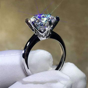 Solitaire Ring 100% Soild 925 Sterling Silver Jewelry 1.5Ct Sona Aaaaa Zircon Cz Engagement Wedding Band Rings For Women
