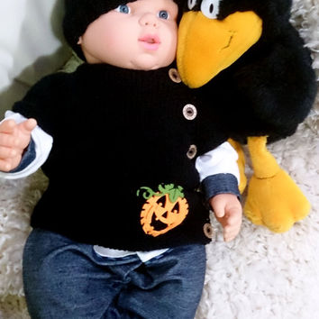 Black baby vest and hat set baby halloween outfit pumpking halloween gift baby shower coming home outfit baby halloween costume