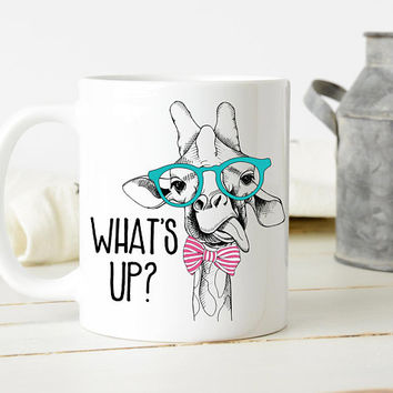 What's Up? - Coffee Mug, Cute Mug, 11 or 15 Ounce Coffee Mug, Funny Giraffe Mug, Best Friend Gift, Office Mug, Coworker Gift