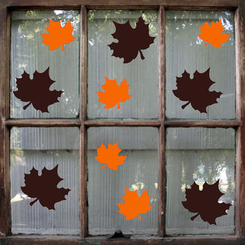 Fall Leaves Decal / Fall Decoration / Thanksgiving Decal