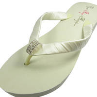 Bridal Flip Flops Emerald Cut Ivory White Wedge Rhinestone Womens Wedding Platform Satin Flip Flops