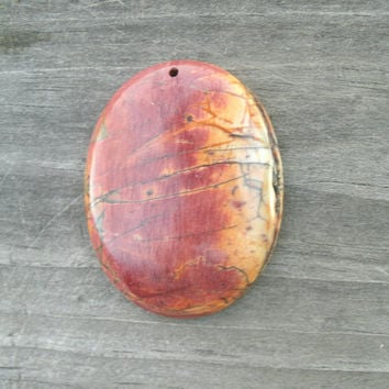 Picasso Jasper Stone Pendant Bead, oval, multi colored, polished, drilled, ready for DIY jewelry supply, tones of red, orange and yellow