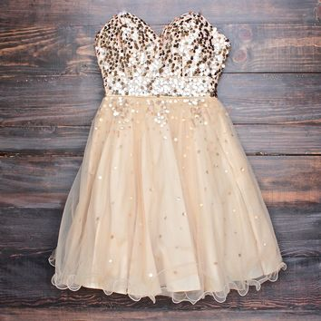 glitter and glam sweetheart strapless gold sequin homecoming party dress