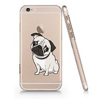 Cute Pug Dog Clear Transparent Plastic Phone Case Phone Cover for Iphone 6 6s_ SUPERTRAMPshop (VAS613.6sl)