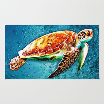 SEA TURTLE SWIMMING Rug by Digital Effects