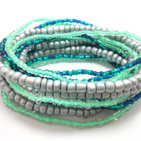 Seed bead wrap stretch bracelets, stacking, beaded, boho anklet, bohemian, stretchy stackable multi strand, mint green teal blue silver