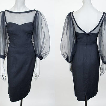 Vintage 60s Dress / 1960s Black Linen and Mesh Bishop Sleeve Sheath Dress S