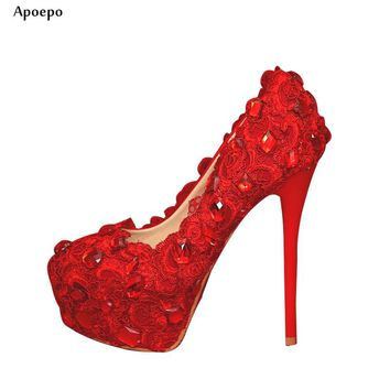 Apoepo Hot Selling Red lace Crystal embellished high heel shoes Sexy platform pumps Super high rhinestones wedding heels