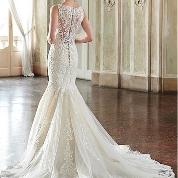 [209.99] Glamorous Tulle & Satin Bateau Neckline Mermaid Wedding Dresses With Lace Appliques - dressilyme.com