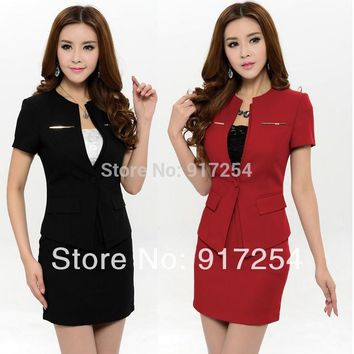 New 2015 Spring Summer Fashion Womens Business Suits Women Career Suits Blazer and Skirt Sets Office Ladies Uniform Suits 4XL