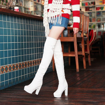 On Sale Hot Deal High Heel Waterproof Dancing White Black Boots [9432960522]