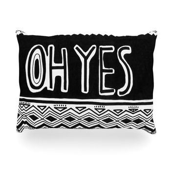 "Vasare Nar ""Oh Yes"" Black White Oblong Pillow"