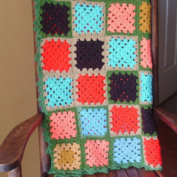 Vintage Afghan Granny Square Crochet Blanket by TheRetroStudio