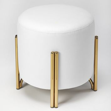 Sidney White Faux Leather Ottoman