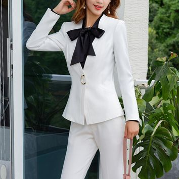 Two Pieces Set Formal Pant Suit  Business Jacket with Wide Leg Pants