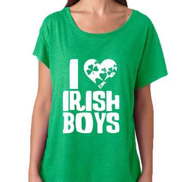 Women's Dolman Shirt I Love Irish Boys St Patrick's Day Party